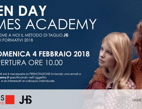 OPEN DAY JAMES ACADEMY – 4 Febbraio 2018